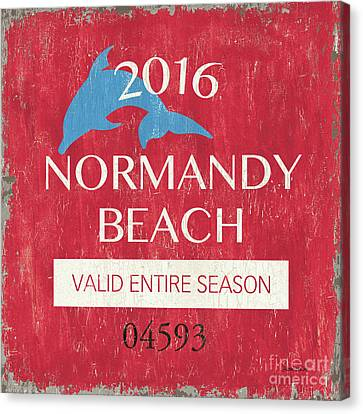 Vintage Sign Canvas Print - Beach Badge Normandy Beach by Debbie DeWitt