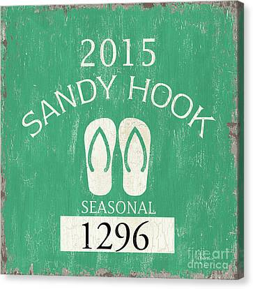 Beach Badge Sandy Hook Canvas Print by Debbie DeWitt