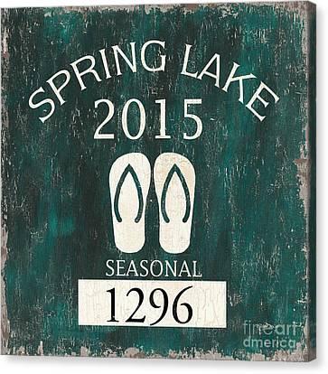 Beach Badge Spring Lake Canvas Print by Debbie DeWitt
