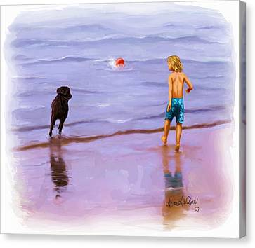 Canvas Print featuring the painting Beach Ball Race by Sena Wilson