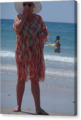 Canvas Print featuring the painting Beach Beauty by Esther Newman-Cohen