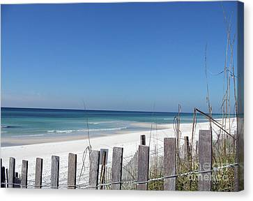 Beach Behind The Fence Canvas Print by Christiane Schulze Art And Photography