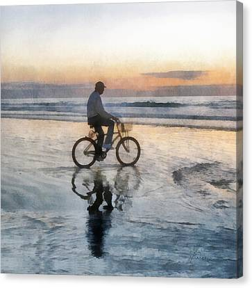Canvas Print featuring the digital art Beach Biker by Francesa Miller
