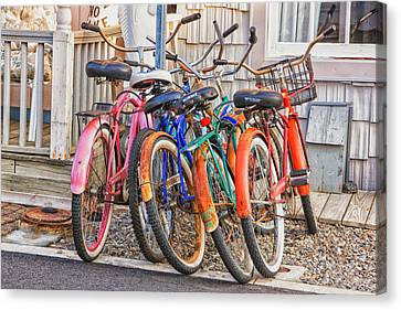 Beach Bikes Canvas Print by Tom Singleton