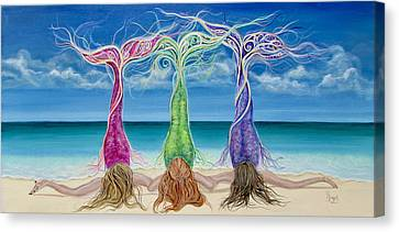 Beach Bliss Buddies Canvas Print by Angel Fritz