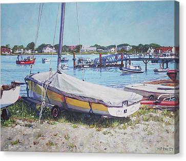 Canvas Print featuring the painting Beach Boat Under Cover by Martin Davey
