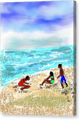 Beach Buddies  Canvas Print by Elaine Lanoue