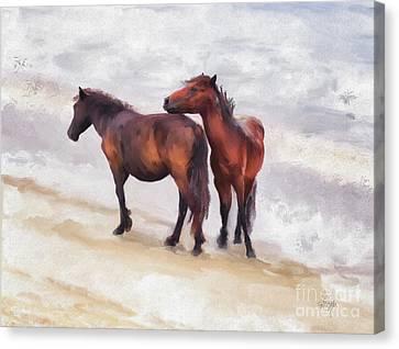 Canvas Print featuring the photograph Beach Buddies by Lois Bryan