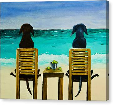 Chocolate Canvas Print - Beach Bums by Roger Wedegis