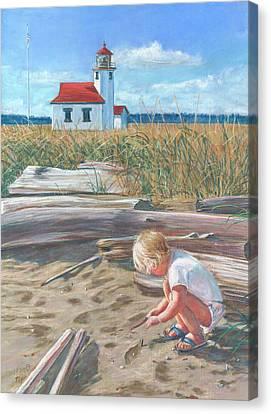 Beach By Lighthouse Canvas Print