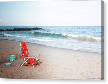 Canvas Print featuring the photograph Beach Chair By The Sea by Ann Murphy