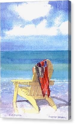 Siesta Key Canvas Print - Beach Chair by Shawn McLoughlin