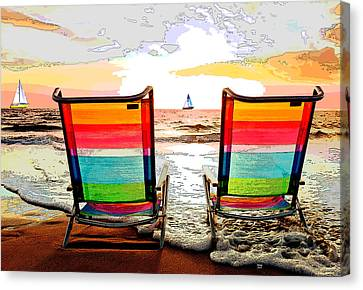 Beach Chairs At Sunset Canvas Print