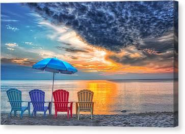 Beach Chairs Canvas Print by Brian Mollenkopf