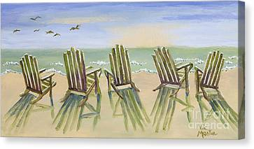 Beach Chairs Relaxing Canvas Print by Vic  Mastis