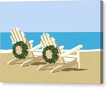 Beach Chairs With Wreaths Canvas Print by Elaine Plesser