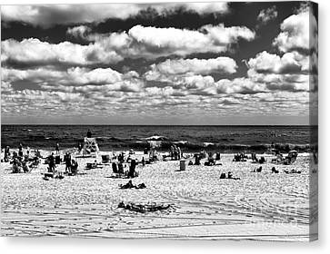 Beach Clouds At Seaside Heights Mono Canvas Print by John Rizzuto