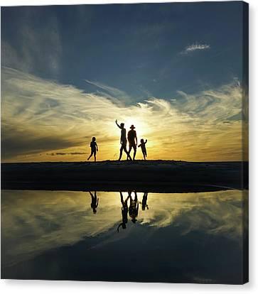 Beach Dancing At Sunset Canvas Print
