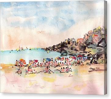 Beach Day At Puerto Vallarta Canvas Print by Sharon Mick
