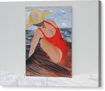 Debbie Hall Canvas Print - Beach Day Block Island by Debbie Hall