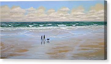 Beach Dog Walk Canvas Print by Frank Wilson