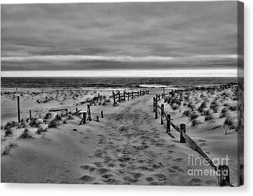 Beach Entry In Black And White Canvas Print by Paul Ward