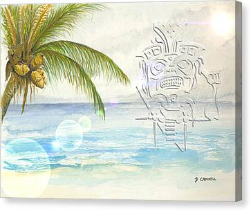 Canvas Print featuring the digital art Beach Etching by Darren Cannell