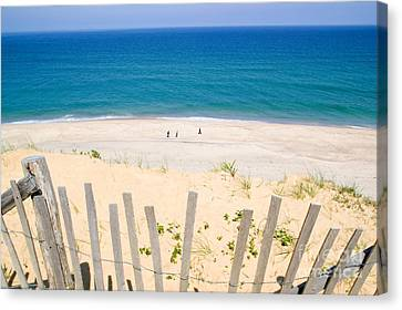 beach fence and ocean Cape Cod Canvas Print