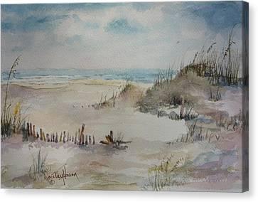 Beach Fence Canvas Print by Dorothy Herron