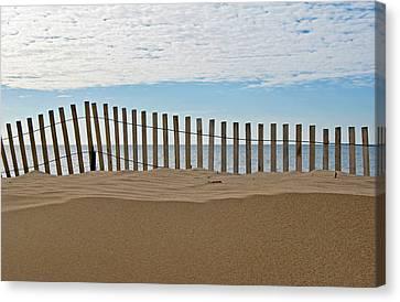 Beach Fence Canvas Print by Maria Dryfhout