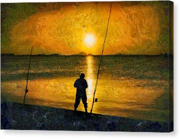 Canvas Print featuring the photograph Beach Fishing  by Scott Carruthers