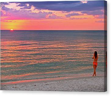 Beach Girl And Sunset Canvas Print