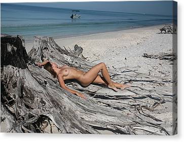Beach Girl Canvas Print by Lucky Cole