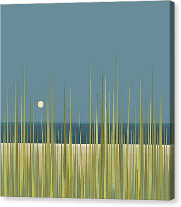 Beach Grass And Blue Sky Canvas Print by Val Arie