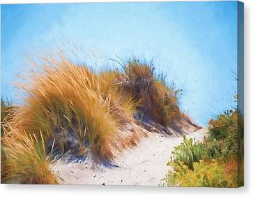 Impressionism Canvas Print - Beach Grass And Sand Dunes by Michelle Wrighton