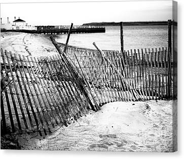 Canvas Print featuring the photograph Beach Haven Dune Fence by John Rizzuto