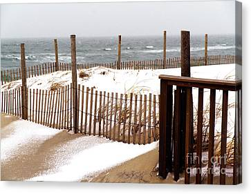 Canvas Print featuring the photograph Beach Haven Dune Snow by John Rizzuto