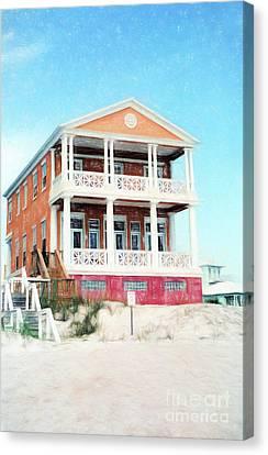 Beach House And Sandy White Florida Sand Canvas Print by Vizual Studio