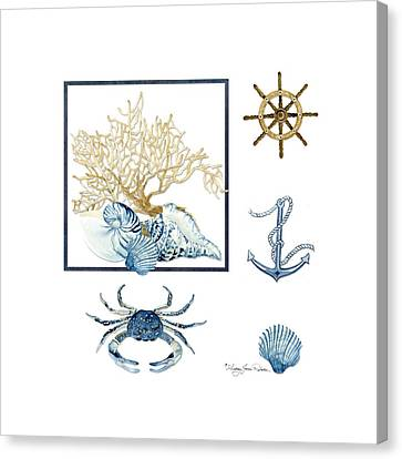 Scallop Shell Canvas Print - Beach House Nautical Seashells Ships Wheel Anchor N Crab by Audrey Jeanne Roberts