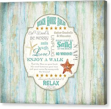 Beach House Rules - Refreshing Shore Typography Canvas Print by Audrey Jeanne Roberts