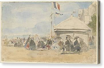 Beach House With Flags At Trouville Canvas Print