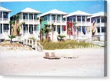Beach Houses Along A Florida White Sandy Beach Canvas Print by Vizual Studio