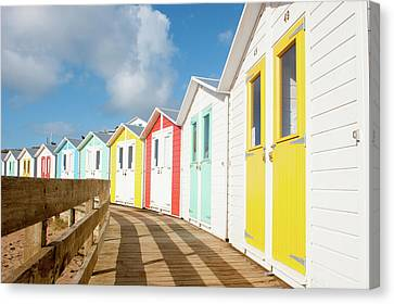 Beach Huts And Boardwalk Canvas Print