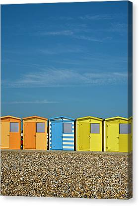 Beach Huts At Seaford Canvas Print by Heiko Koehrer-Wagner