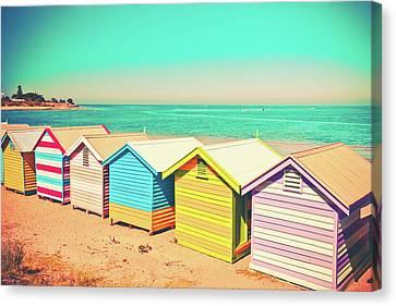 Beach Huts Of Brighton Canvas Print