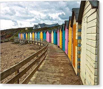 Canvas Print featuring the photograph Beach Huts by RKAB Works