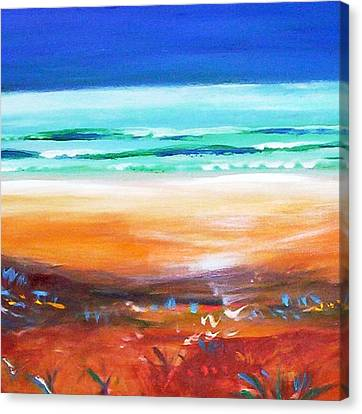 Canvas Print featuring the painting Beach Joy by Winsome Gunning