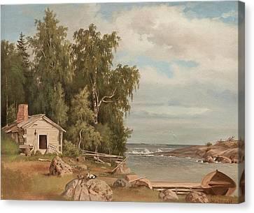 Beach Landscape From Lovo Canvas Print by Magnus von Wright