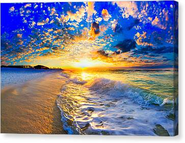 Canvas Print featuring the photograph Beach Landscape Photography Golden Ocean Sunset by Eszra Tanner