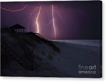 Beach Lighting Storm Canvas Print by Randy Steele